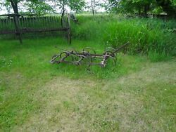Antique Vintage Horse-tractor-four Wheeler Drawn Spike-spring-tine Tooth Harrow