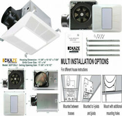 Kaze Appliance Ultra Quiet Bathroom Exhaust Fan With Led Light And White