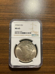 1934-d Peace Silver Dollar 1 Ngc Ms 65 Type 2, Low Relief Rare High Grade Pq