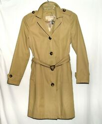 Michael for Michael Kors Beige Cotton Blend Womens Belted Trench Coat Size PM $51.99