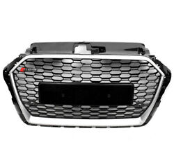 Front Honeycomb Mesh Rs3 Hex Grille Black/silver Trim For 17-18 Audi A3 S3 8v