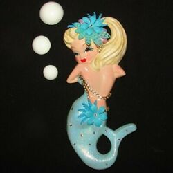 Vintage Mold Mermaid Diva Wall Plaque For Fish And Seahorse Bath Decor