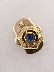 Victorian 14k Yellow Gold .06ct Sapphire And Seed Pearl Slide Charm For Bracelet