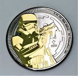 1 Oz .999 Silver Star Wars Stormtrooper Black Ruthenium And Gold W/ Coa And Box