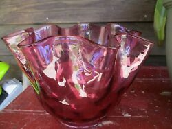 Antique Victorian Cranberry With Ruffle Oil Or Gas Lamp Shade Excellent