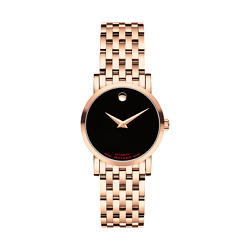 Brand New Movado Womens Red Label Black Dial Rose Gold Bracelet Watch 0607064