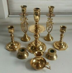Lot Of 8 Vintage Brass Candlestick Holders Tapered Home Wedding Decor