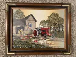 Vintage H. Hargrove 1985 Farming Apple Orchard Tractor Serigraph Framed 19x15