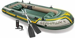 Intex Seahawk 4 Boat Set - Four Man Inflatable Dinghy With Oars And Pump 68351