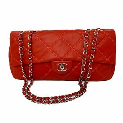 Red Silver Soft Lambskin Leather Ultimate Stitch Quilt Xl Flap Bag