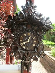 Large Antique Beha Cuckoo Clock Ca. 1870,s With Leaves, Grapes And Vines
