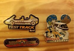 3 Disney Pin - Disneyland Monorail Mickey And Goofy Test Track Mission Space Logo