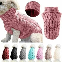 Small Dogs Cats Warm Sweater Winter Turtleneck Knitted Pet Puppy Clothes Vest SS