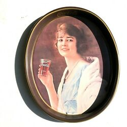 Vintage 70's Reproduction Vintage Coca-cola Woman With Glass Oval Tray []