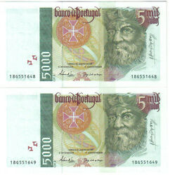 Portugal 2 X 5000 Escudos 1995 Pick 190 A Running Numbers Unc