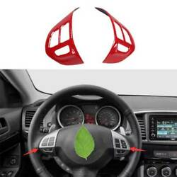 Red Steering Wheel Button Cover Trim 2pc Fit For Mitsubishi Lancer Evo 2009-2016