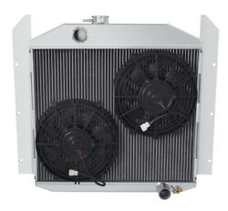 3 Row Reliable Champion Radiator W/ 2 10 Fans For 1949 - 1952 Studebaker Pickup