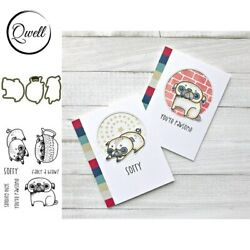 Lovely Pugs Metal Cutting Dies Clear Stamps Diy Scrapbooking Card Making Craft