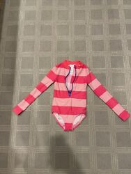 Boden Girl's One Piece Long-sleeved Swimsuit Pink Stripes Size 8-9y