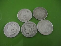 Lot Of 5 Cull 1878-1904 Pre And03921 1 Morgan Silver Dollars 5 Coins Mixed Dates