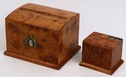 Ww2 German Iron Cross Wwii 2 Box For Matches And Cigarettes 1942 Gott Mit Uns Oak
