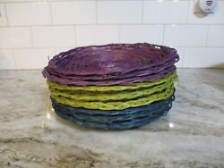Vintage Wicker Rattan Plate Holders Camping Picnic Lot Of 9 Purple Green Blue