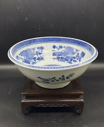 Superb Antique Chinese Qianlong Blue And White Punch Bowl
