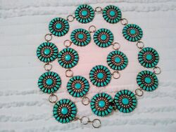 Beautiful Sterling Silver And Turquoise 17 Piece Concho Belt Signed Hdsandnbsp