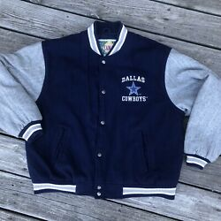 Dallas Cowboys Classic Team Nfl Collection Varsity Style Wool Blend Coat Mens L