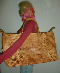 Dooney And Bourke Oversized Tan Croc Leather Duffel Bag Travel Tote Purse