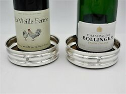 Lovely Pair Of Silver Wine Coasters, London 1962 Bottle Stands Horse Crest