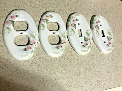 2 Vintage Floral Oval Ceramic Light Switch Covers And 2 Oval Receptacle Covers.