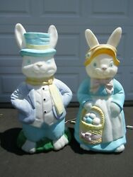 Vtg Empire 36 Large Mr And Mrs Easter Bunny Blow Mold Set Light Up