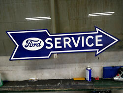 Ford Service X-large Heavy Porcelain Sign 48x 19 Near Mint/very Nice