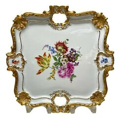 Fine Meissen Germany Porcelain Gold And Floral Square Twin Handled Tray C1920
