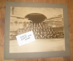 Large Vtg 1901 Photo - Trolley Cable Car Group Motorman Conductor Dexter Ny