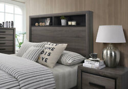 Grey Color Casual Modern Queen Size Bed Bookcase Storage Bedroom Furniture