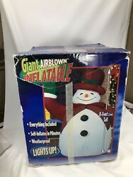 Vintage Gemmy Frosty The Snowman 8 Ft Red Hat Airblown Inflatable Christmas