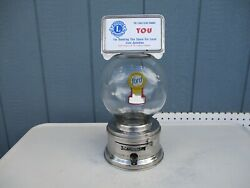 Vintage Ford Stainless Steel 1 Cent Gumball Machine With Glass Globe And Topper