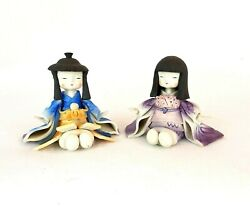 Set Of 2 Asian Geisha Figurines Statues Sitting Clay Handcrafted Painted Pottery