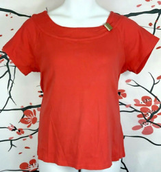 Rafaella Size 1x Women's Orange Short Sleeve Boat Neck With Gold Accent Knit Top
