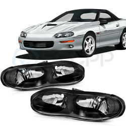 Pair Headlights Assembly For 1998-2002 Chevy Camaro Left+right Black Replacement