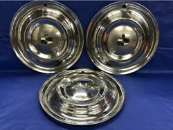 Very Rare Vintage Set Of 3 1951 Lincoln 15andrdquo Hubcaps Lido Good Condition