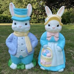 Vintage Empire Easter Blow Mold Mr. And Mrs. Easter Bunny Rabbit Lighted
