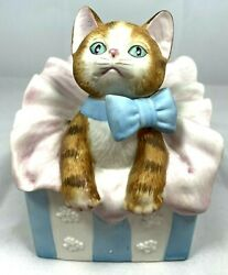 Vintage Porcelain Cat In A Bag Music Box Mann 1987 Made In Japan Blue Bow