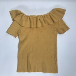 Preowned Forever 21 Yellow Crop Top Ruffle Short Sleeve On or Off Shoulder Girls $9.99
