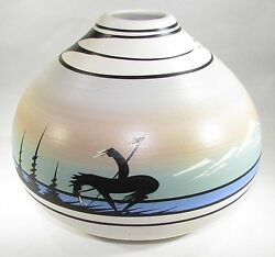 Navajo Pottery With Lone Warrior Mountain And Tepee Decorations Signed Judy B