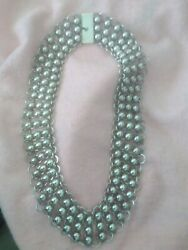 Vintage Taxco Mexico Mexican Sterling Silver Half Bead Choker Necklace