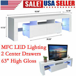 63 Led Shelve High Gloss Tv Stand Unit Cabinet 2 Drawer Console White Furn Us