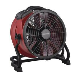 14 Red Portable Industrial Carpet Floor Wall Axial Fan Built In Power Outlet